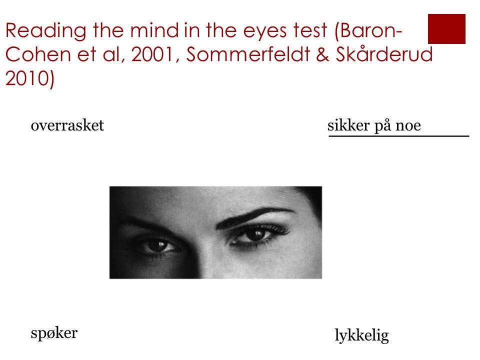 Reading the mind in the eyes test (Baron- Cohen et al, 2001, Sommerfeldt & Skårderud 2010) overrasketsikker på noe spøker lykkelig