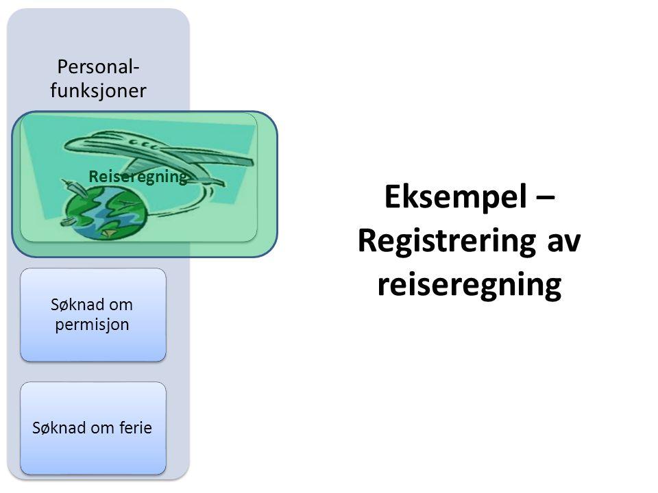 Personal- funksjoner Reiseregning Søknad om permisjon Søknad om ferie Eksempel – Registrering av reiseregning