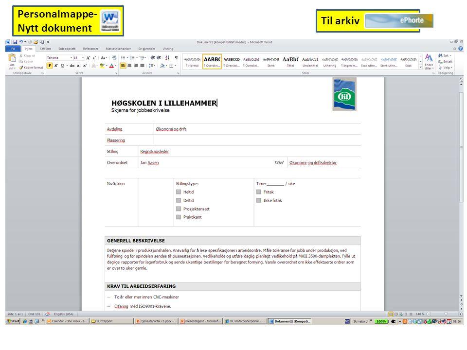 Til arkiv Personalmappe- Nytt dokument
