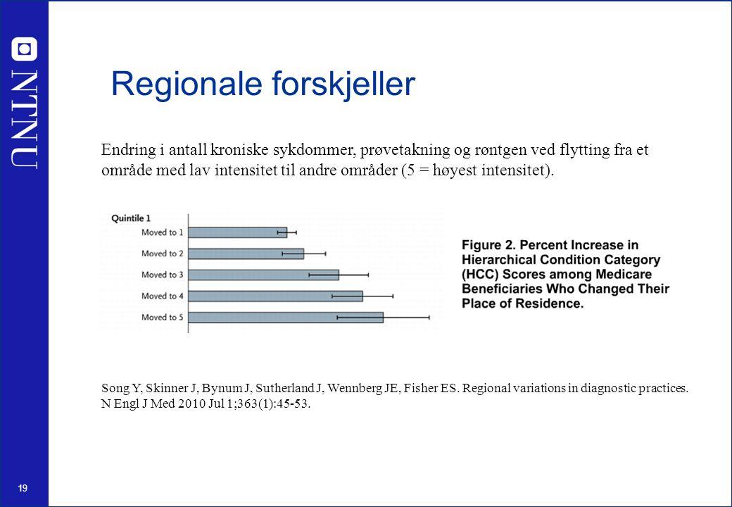 19 Regionale forskjeller Song Y, Skinner J, Bynum J, Sutherland J, Wennberg JE, Fisher ES.