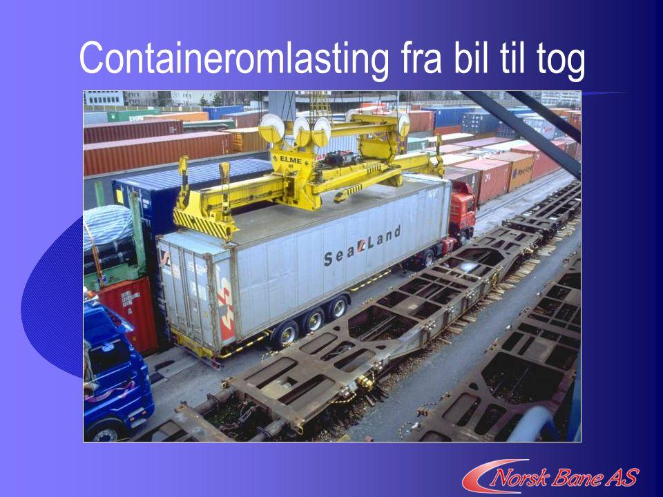 Containeromlasting fra bil til tog