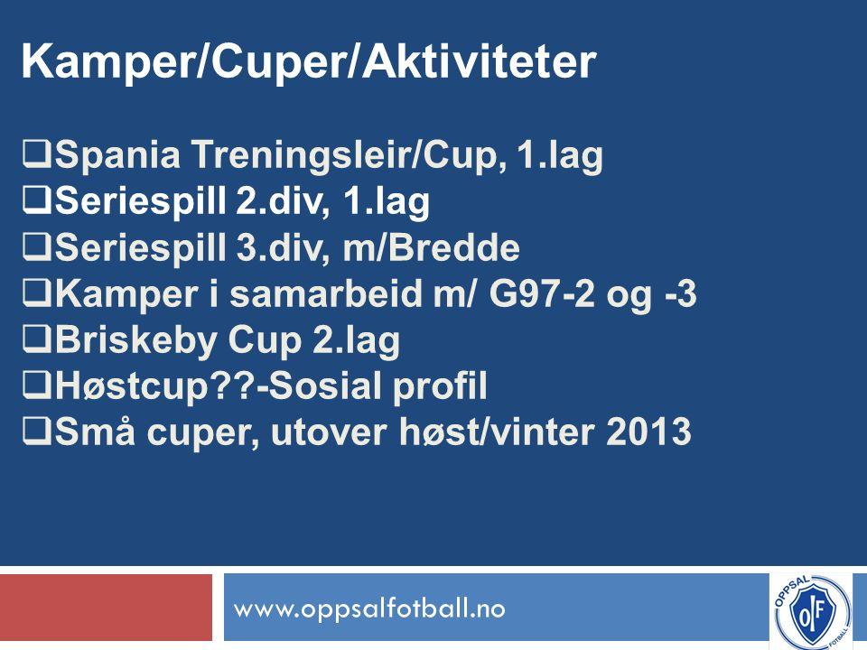 www.oppsalfotball.no Kamper/Cuper/Aktiviteter  Spania Treningsleir/Cup, 1.lag  Seriespill 2.div, 1.lag  Seriespill 3.div, m/Bredde  Kamper i samarbeid m/ G97-2 og -3  Briskeby Cup 2.lag  Høstcup -Sosial profil  Små cuper, utover høst/vinter 2013