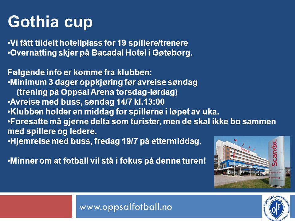 www.oppsalfotball.no Gothia cup Vi fått tildelt hotellplass for 19 spillere/trenere Overnatting skjer på Bacadal Hotel i Gøteborg.