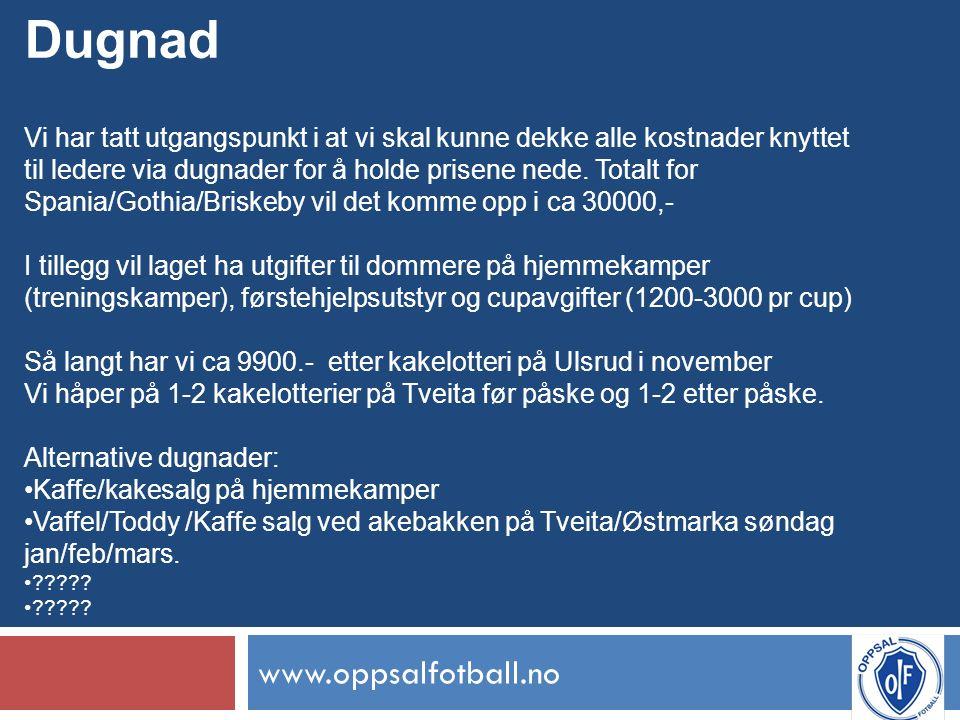 www.oppsalfotball.no Dugnad Vi har tatt utgangspunkt i at vi skal kunne dekke alle kostnader knyttet til ledere via dugnader for å holde prisene nede.