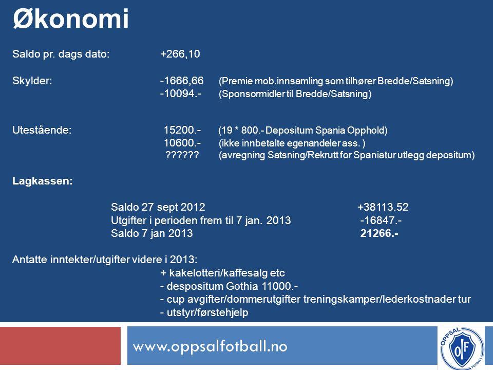 www.oppsalfotball.no Økonomi Saldo pr.