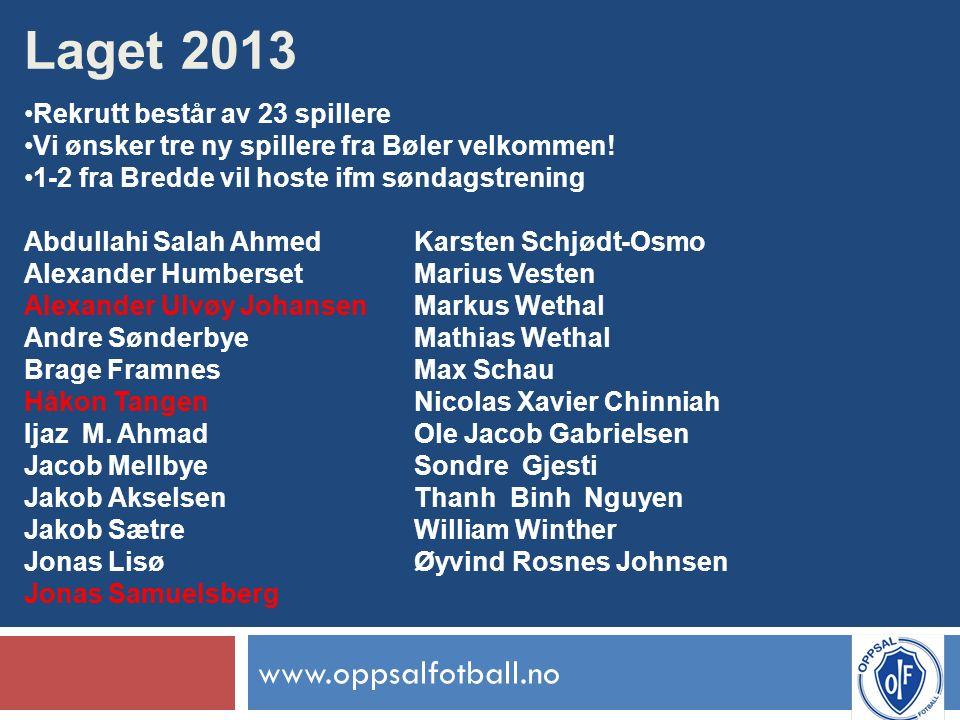 www.oppsalfotball.no Laget 2013 Rekrutt består av 23 spillere Vi ønsker tre ny spillere fra Bøler velkommen.
