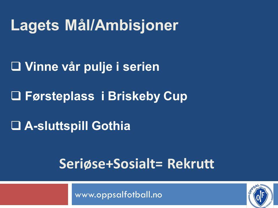 www.oppsalfotball.no Lagets Mål/Ambisjoner  Vinne vår pulje i serien  Førsteplass i Briskeby Cup  A-sluttspill Gothia Seriøse+Sosialt= Rekrutt