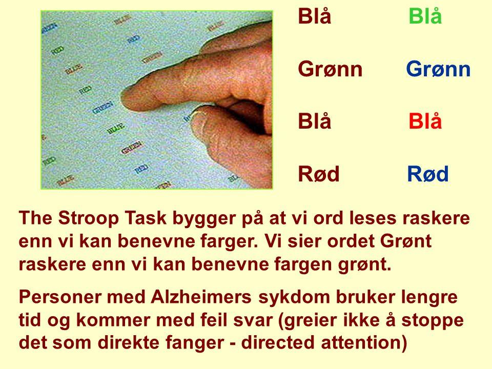 Blå Grønn Blå Rød The Stroop Task bygger på at vi ord leses raskere enn vi kan benevne farger. Vi sier ordet Grønt raskere enn vi kan benevne fargen g