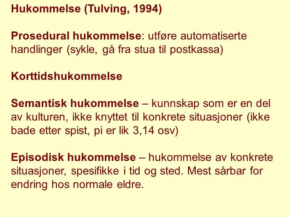 Hukommelse (Tulving, 1994) Prosedural hukommelse: utføre automatiserte handlinger (sykle, gå fra stua til postkassa) Korttidshukommelse Semantisk huko