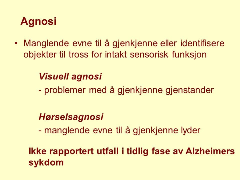 Agnosi Manglende evne til å gjenkjenne eller identifisere objekter til tross for intakt sensorisk funksjon Visuell agnosi - problemer med å gjenkjenne