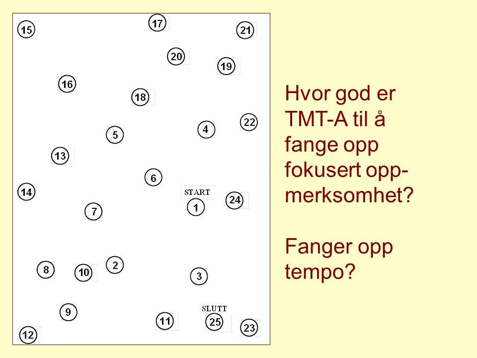 Hvor god er TMT-A til å fange opp fokusert opp- merksomhet? Fanger opp tempo?