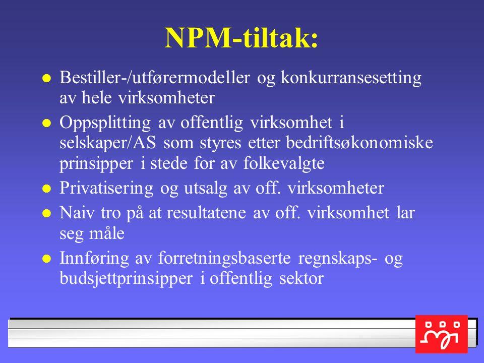 St.meld. 47 Samhandlingsreformen Tross gode intensjoner - NPM lever videre Ikke oppgjør med helseforetakene og lønnsomhetsregnskapet Stykkpris og peng