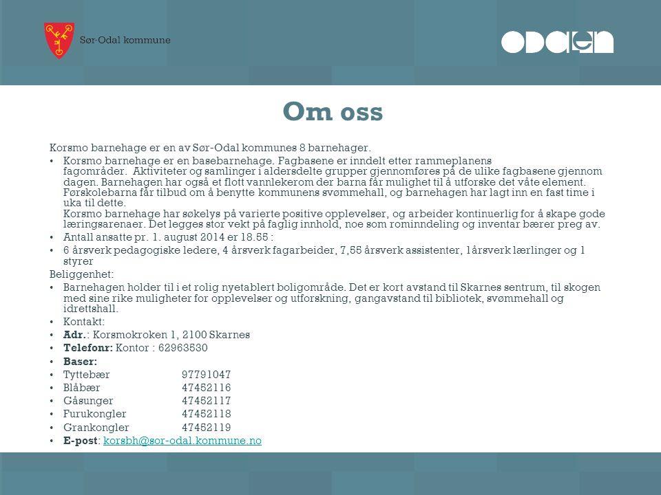 Om oss Korsmo barnehage er en av Sør-Odal kommunes 8 barnehager.
