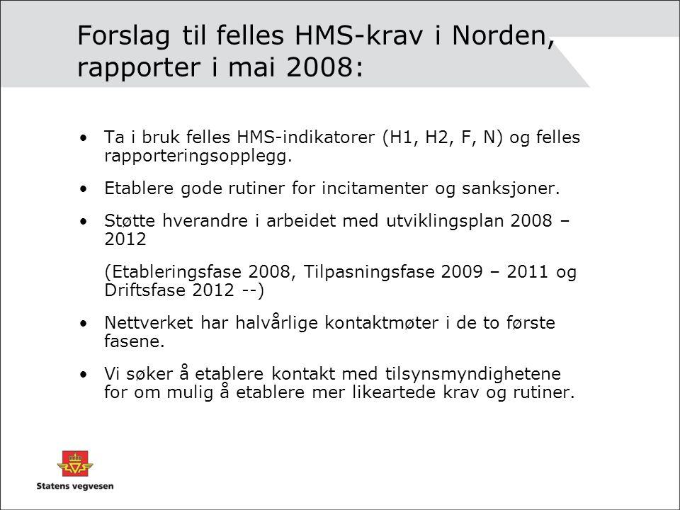 Forslag til felles HMS-krav i Norden, rapporter i mai 2008: Ta i bruk felles HMS-indikatorer (H1, H2, F, N) og felles rapporteringsopplegg.