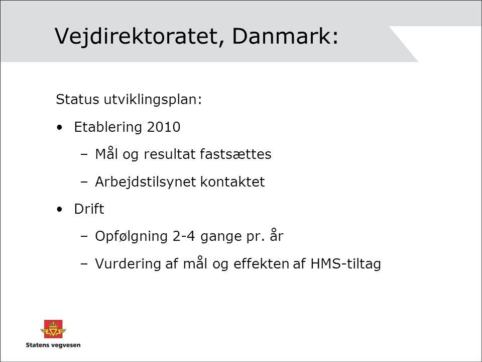 Vejdirektoratet, Danmark: Status utviklingsplan: Etablering 2010 –Mål og resultat fastsættes –Arbejdstilsynet kontaktet Drift –Opfølgning 2-4 gange pr.