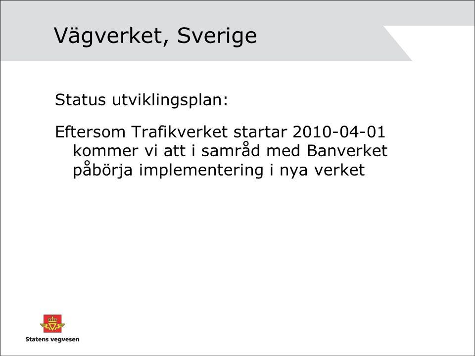 Vägverket, Sverige Status utviklingsplan: Eftersom Trafikverket startar 2010-04-01 kommer vi att i samråd med Banverket påbörja implementering i nya verket