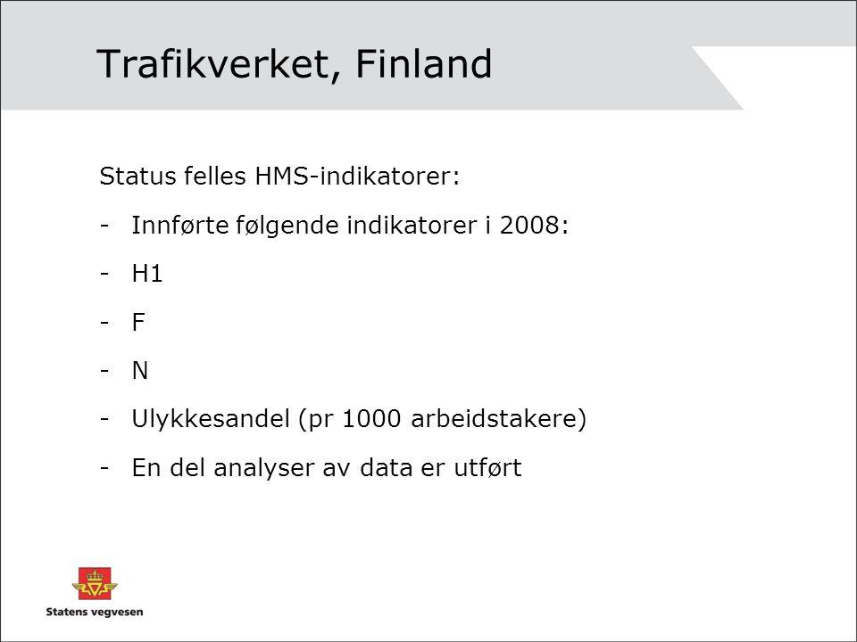 Trafikverket, Finland Status felles HMS-indikatorer: -Innførte følgende indikatorer i 2008: -H1 -F -N -Ulykkesandel (pr 1000 arbeidstakere) -En del analyser av data er utført