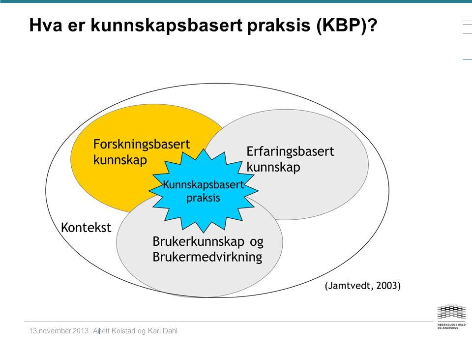 Hva er kunnskapsbasert praksis (KBP) 13.november 2013 Anett Kolstad og Kari Dahl