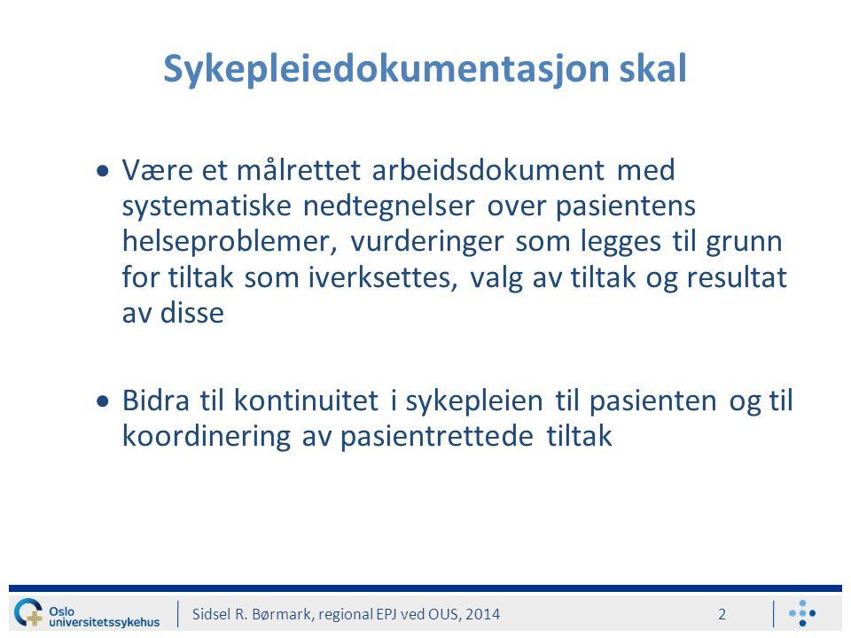 Være et målrettet arbeidsdokument med systematiske nedtegnelser over pasientens helseproblemer, vurderinger som legges til grunn for tiltak som iverksettes, valg av tiltak og resultat av disse  Bidra til kontinuitet i sykepleien til pasienten og til koordinering av pasientrettede tiltak Sykepleiedokumentasjon skal Sidsel R.