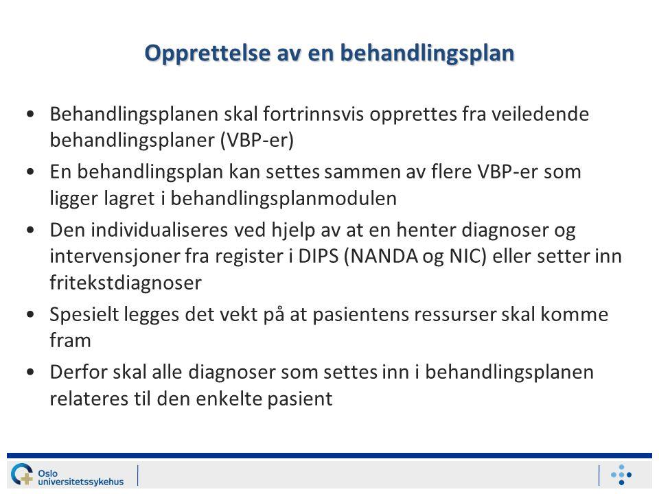 Veiledende behandlingsplan Predefinert oversikt over sannsynlige sykepleiediagnoser/ problemer og relevante sykepleieintervensjoner/ tiltak med forordninger for en pasientgruppe Sidsel R.