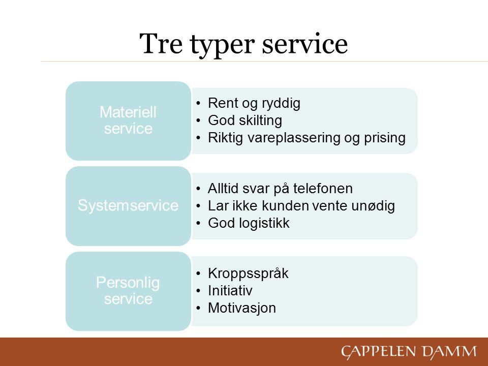 Tre typer service Rent og ryddig God skilting Riktig vareplassering og prising Materiell service Alltid svar på telefonen Lar ikke kunden vente unødig