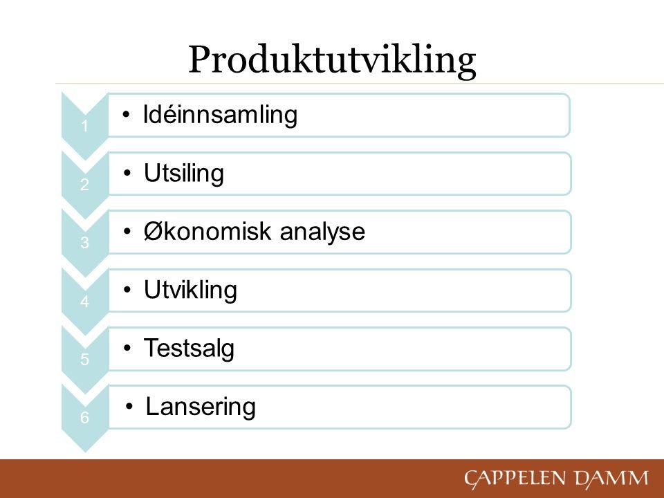 Produktutvikling 1 Idéinnsamling 2 Utsiling 3 Økonomisk analyse 4 Utvikling 5 Testsalg 6 Lansering
