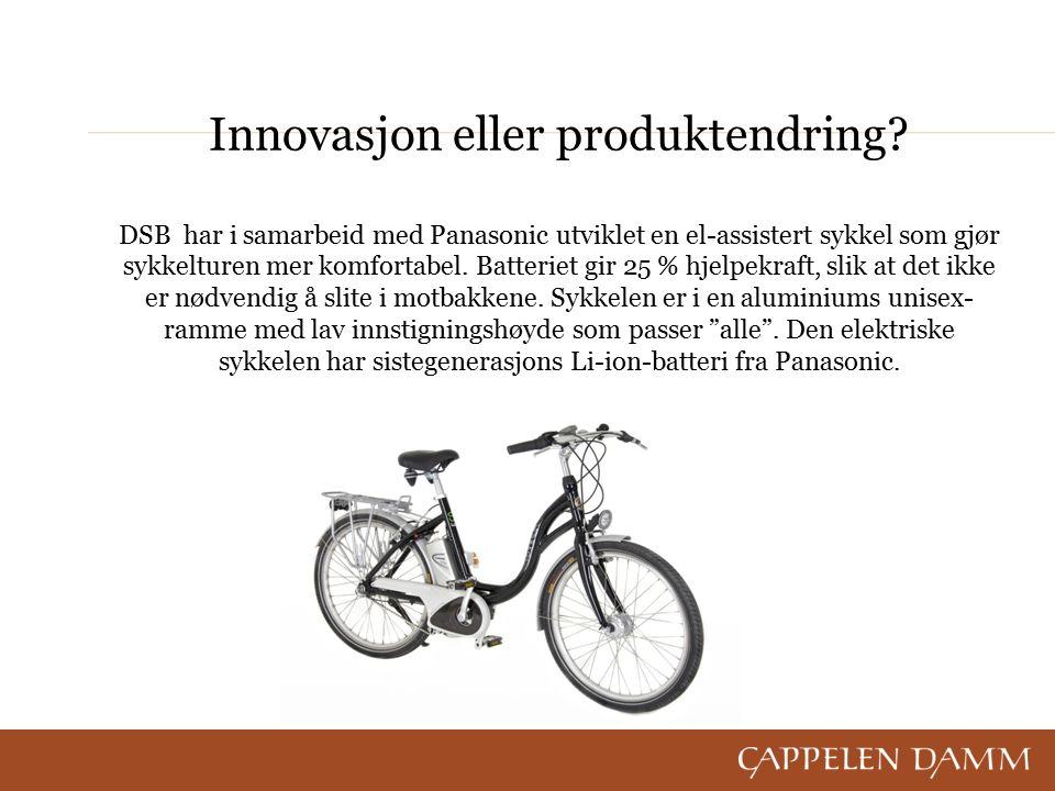 Innovasjon eller produktendring? DSB har i samarbeid med Panasonic utviklet en el-assistert sykkel som gjør sykkelturen mer komfortabel. Batteriet gir