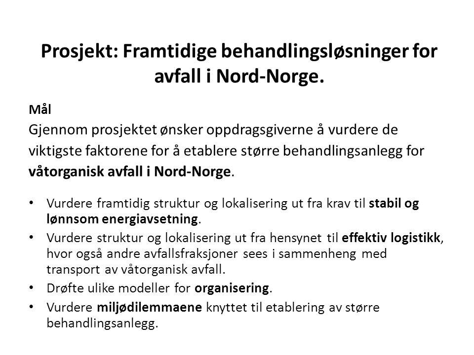 Energibehov hvor avfall kan inngå som bærer Kirkenes: Fjernvarme: 10 – 12 GWh (15 000 tonn rest) Alta: Fjernvarme: 10 – 12 GWh (Flis + rest) Tromsø:Fjernvarme: 160 GWh (60 000 tonn rest) Stokmarknes:Damp/varme: 30 – 60 GWh (Biogass/gass/el) Norcem, Kjøpsvik: Varme: 30 000 tonn restavfall Bodø: Fjernvarme:160 GWh (40 000 tonn rest) Mo i Rana: Fjernvarme:Overskudd