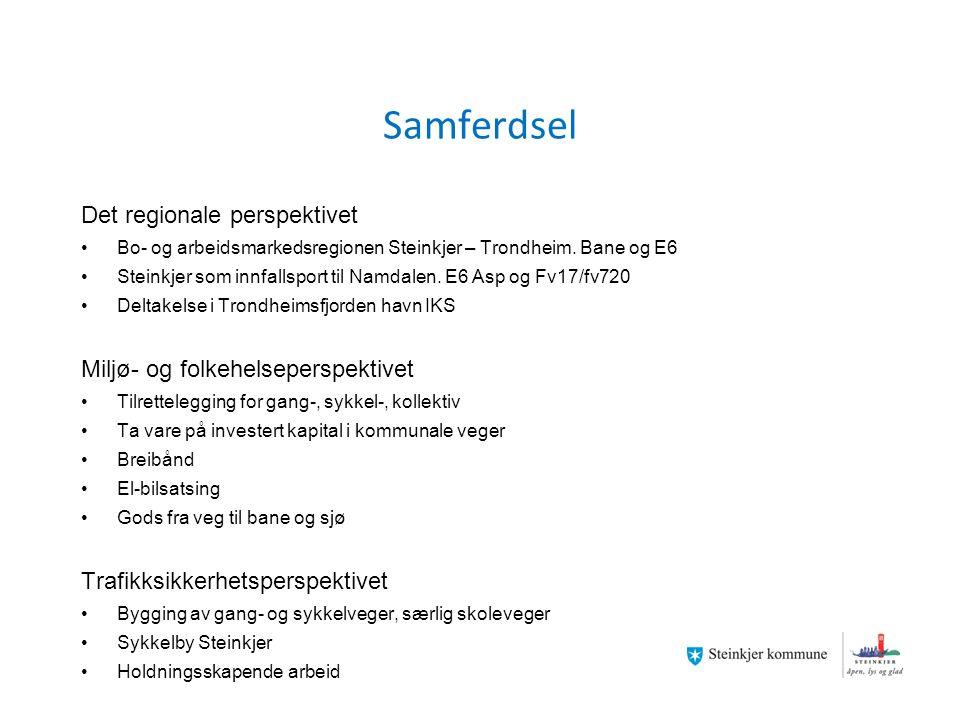 Næringsutvikling Egendekning av arbeidsplasser, innovasjonskraft, arbeidskraft og rekruttering av kompetanse Kompetansearbeidsplasser Tiltrekke ny statlig virksomhet Styrke eksisterende bedrifter/organisasjoner (eks HiNT) Bedre samhandlingen Variert næringsliv som gir muligheter for alle Næringsareal, felles i Inn-Trøndelag Næringsplan for Inn-Trøndelag Felles næringsapparat i Inn-Trøndelag Aktiv rolle for å utvikle næringssamarbeidet også ut over Inn- Trøndelagsregionen Overskudd av arbeidsplasser innen 2020 Tilby praksisplasser Steinkjerlandbruket som utstillingsvindu for norsk landbruk