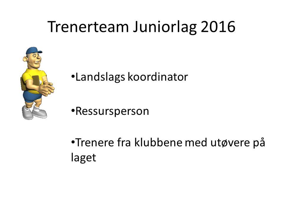 Trenerteam Juniorlag 2016 Landslags koordinator Ressursperson Trenere fra klubbene med utøvere på laget