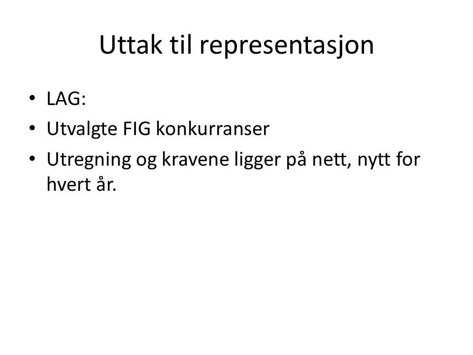 Uttak til representasjon LAG: Utvalgte FIG konkurranser Utregning og kravene ligger på nett, nytt for hvert år.
