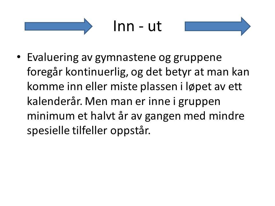 Inn - ut Evaluering av gymnastene og gruppene foregår kontinuerlig, og det betyr at man kan komme inn eller miste plassen i løpet av ett kalenderår.