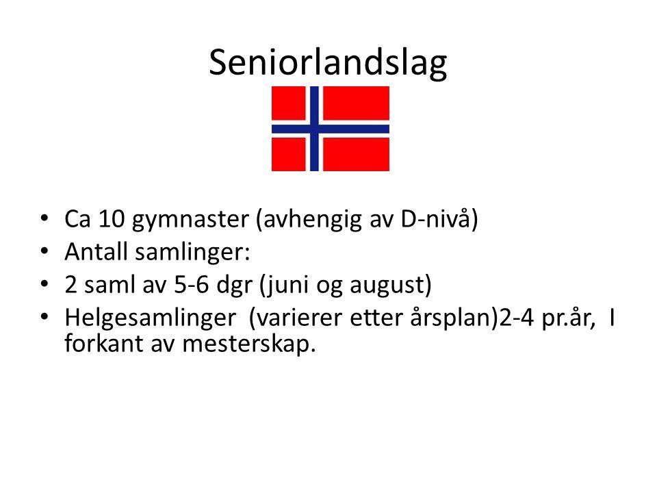 Seniorlandslag Ca 10 gymnaster (avhengig av D-nivå) Antall samlinger: 2 saml av 5-6 dgr (juni og august) Helgesamlinger (varierer etter årsplan)2-4 pr.år, I forkant av mesterskap.