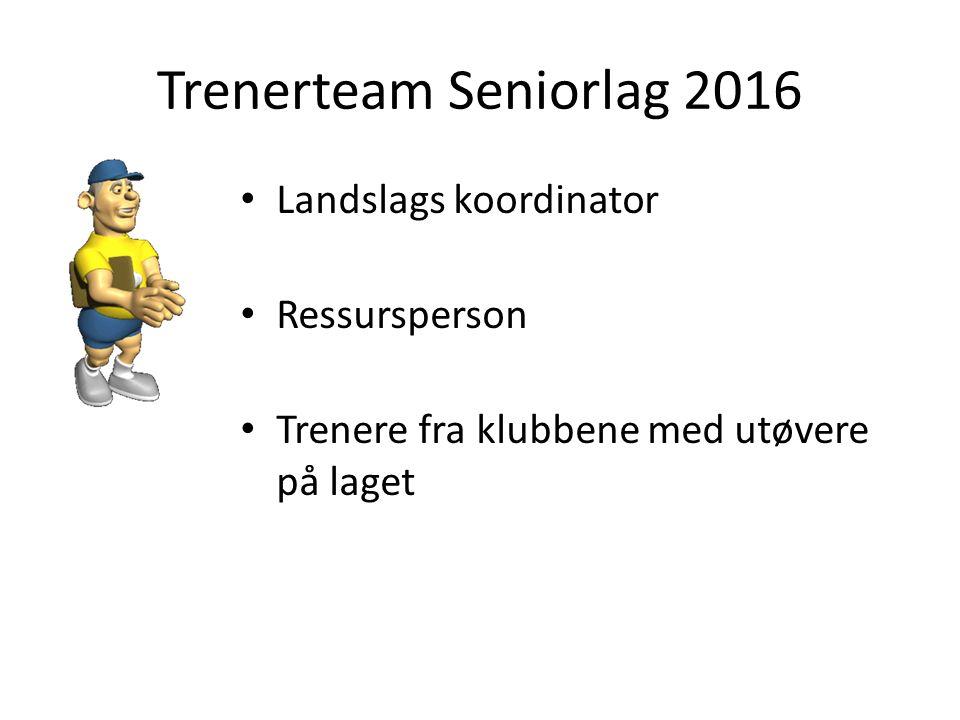 Trenerteam Seniorlag 2016 Landslags koordinator Ressursperson Trenere fra klubbene med utøvere på laget