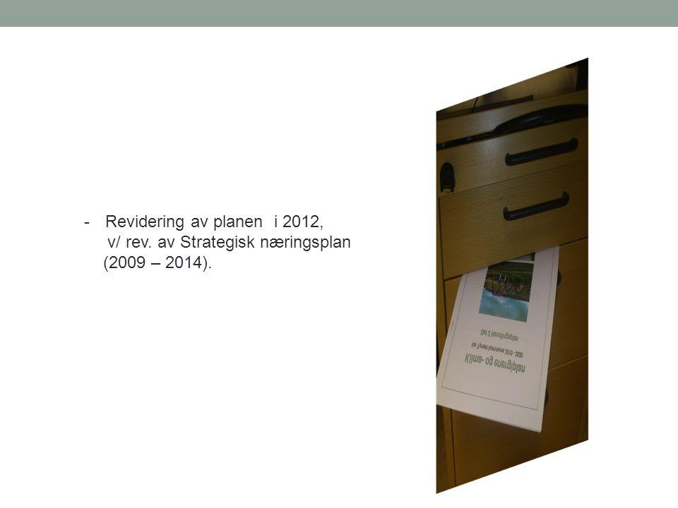 -Revidering av planen i 2012, v/ rev. av Strategisk næringsplan (2009 – 2014).