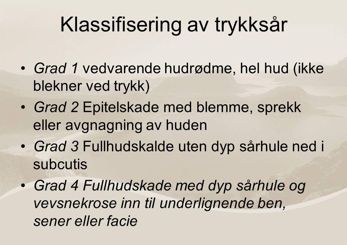 Lokalisasjon av trykksår Sacrum Sittebensknutene Hoftekammene Hælene Øvrige lokalisasjoner