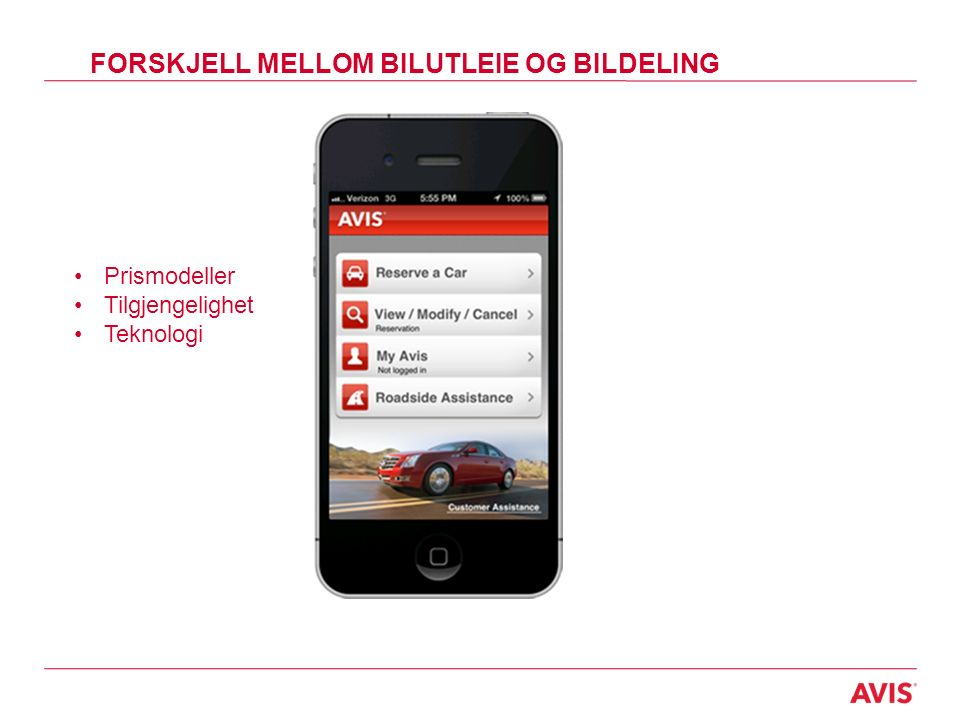 FORSKJELL MELLOM BILUTLEIE OG BILDELING Prismodeller Tilgjengelighet Teknologi