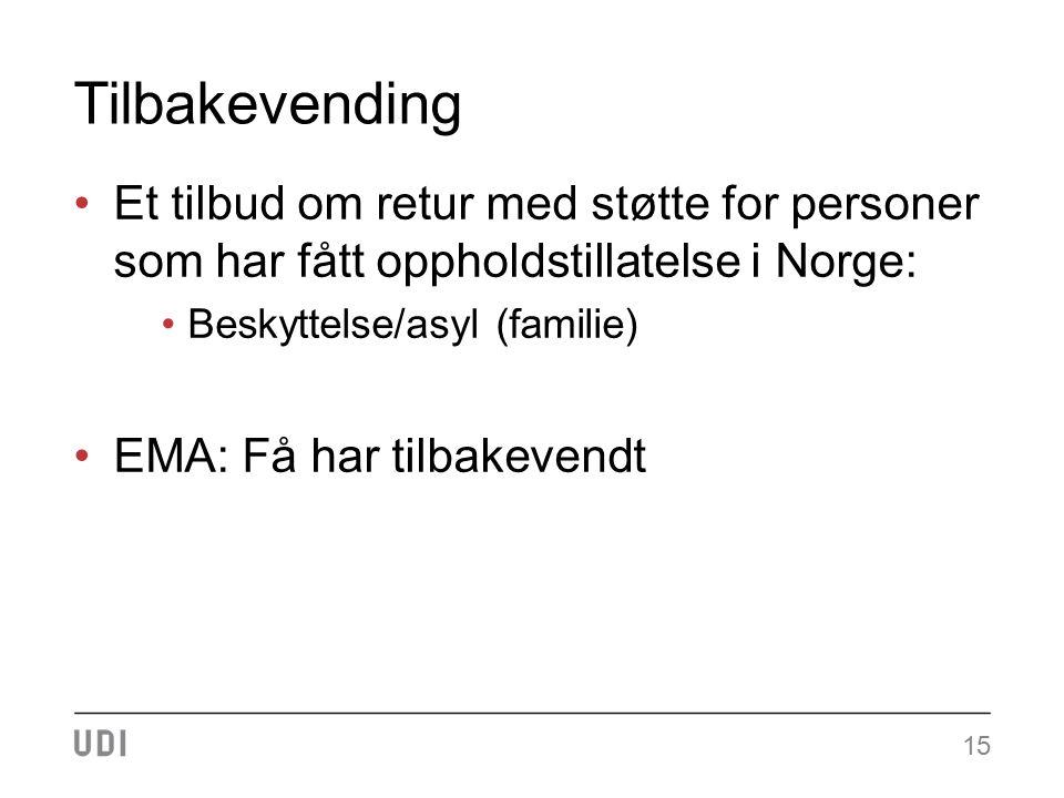 Tilbakevending Et tilbud om retur med støtte for personer som har fått oppholdstillatelse i Norge: Beskyttelse/asyl (familie) EMA: Få har tilbakevendt 15
