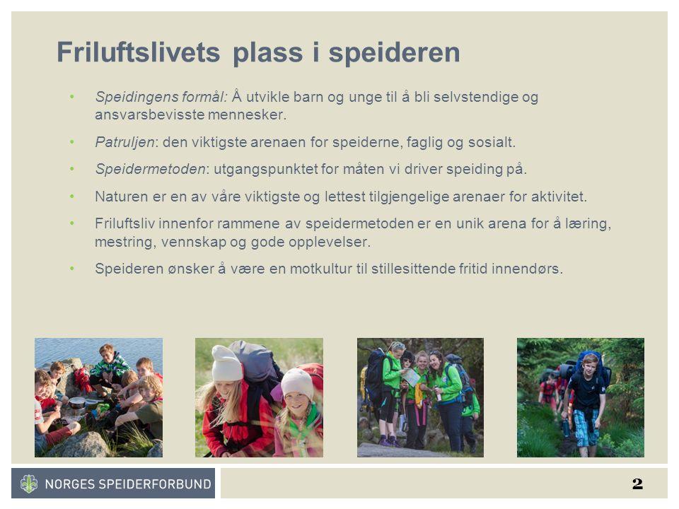 2 Friluftslivets plass i speideren Speidingens formål: Å utvikle barn og unge til å bli selvstendige og ansvarsbevisste mennesker.