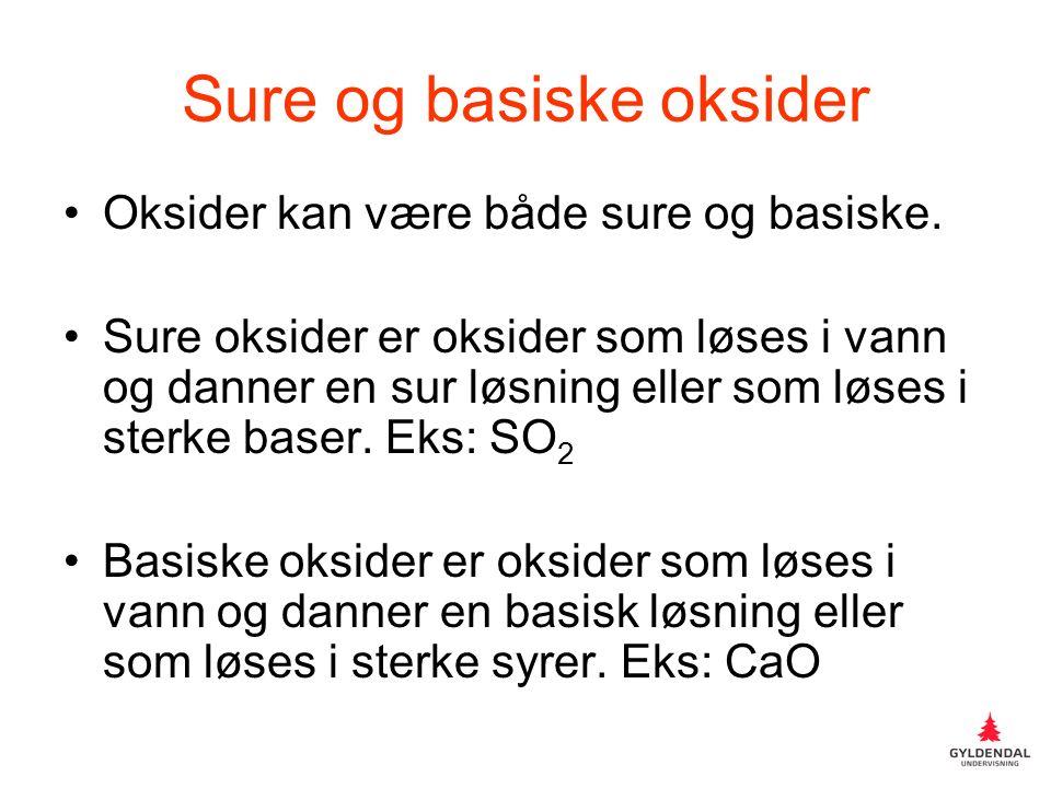 Sure og basiske oksider Oksider kan være både sure og basiske.