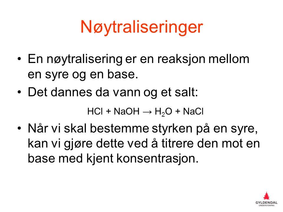 Nøytraliseringer En nøytralisering er en reaksjon mellom en syre og en base.
