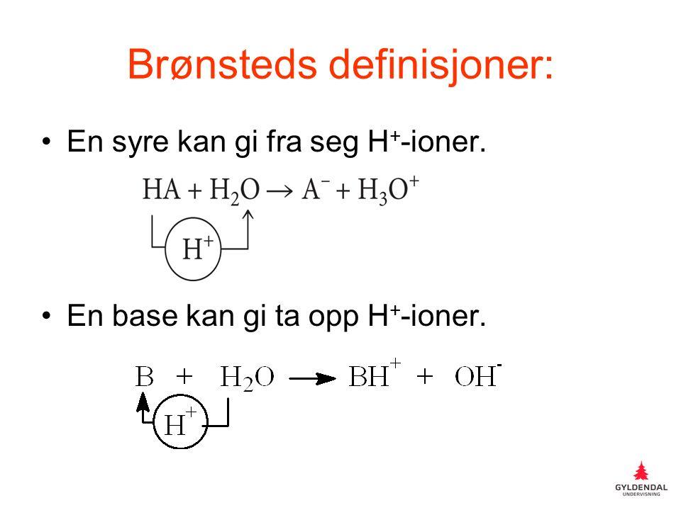 Brønsteds definisjoner: En syre kan gi fra seg H + -ioner. En base kan gi ta opp H + -ioner.