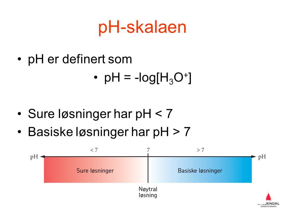 pH-skalaen pH er definert som pH = -log[H 3 O + ] Sure løsninger har pH < 7 Basiske løsninger har pH > 7