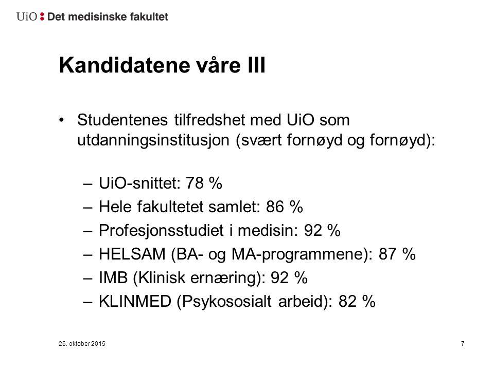 26. oktober 20157 Kandidatene våre III Studentenes tilfredshet med UiO som utdanningsinstitusjon (svært fornøyd og fornøyd): –UiO-snittet: 78 % –Hele