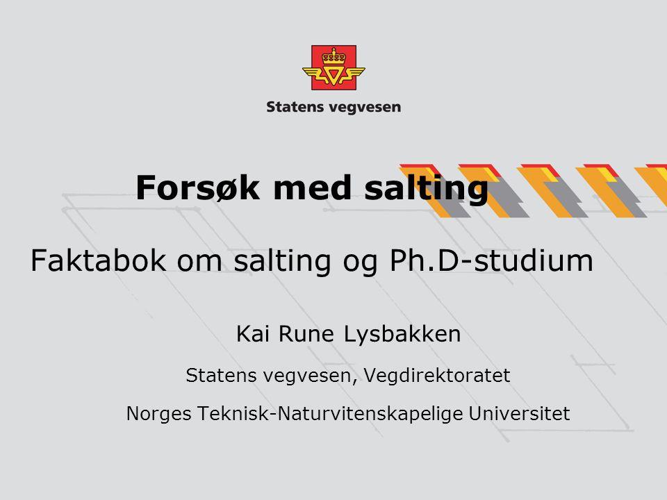 Forsøk med salting Faktabok om salting og Ph.D-studium Kai Rune Lysbakken Statens vegvesen, Vegdirektoratet Norges Teknisk-Naturvitenskapelige Univers