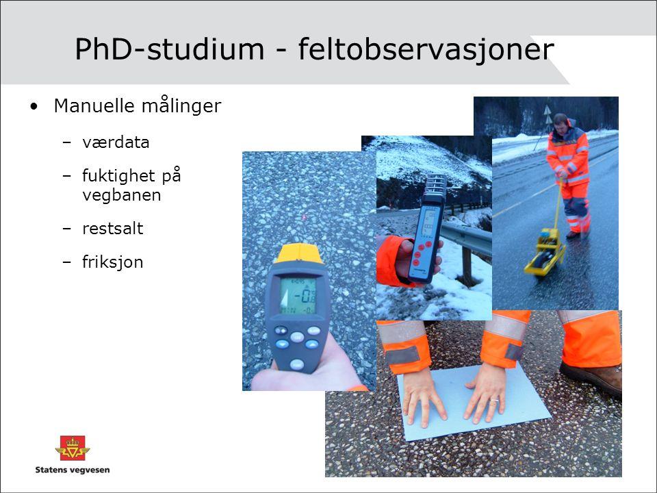 PhD-studium - feltobservasjoner Manuelle målinger –værdata –fuktighet på vegbanen –restsalt –friksjon