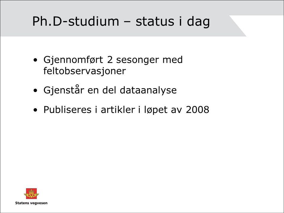 Ph.D-studium – status i dag Gjennomført 2 sesonger med feltobservasjoner Gjenstår en del dataanalyse Publiseres i artikler i løpet av 2008