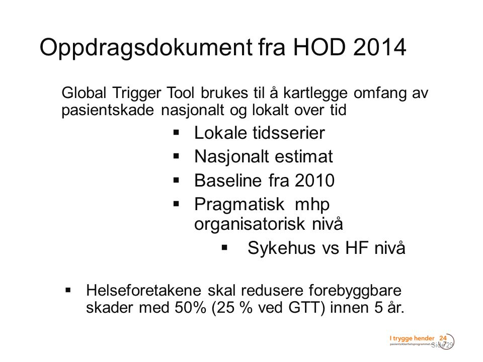 Oppdragsdokument fra HOD 2014  Global Trigger Tool brukes til å kartlegge omfang av pasientskade nasjonalt og lokalt over tid  Lokale tidsserier  N