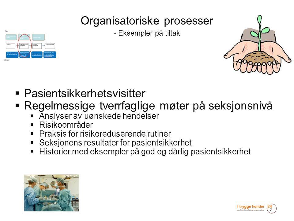 Organisatoriske prosesser - Eksempler på tiltak  Pasientsikkerhetsvisitter  Regelmessige tverrfaglige møter på seksjonsnivå  Analyser av uønskede h