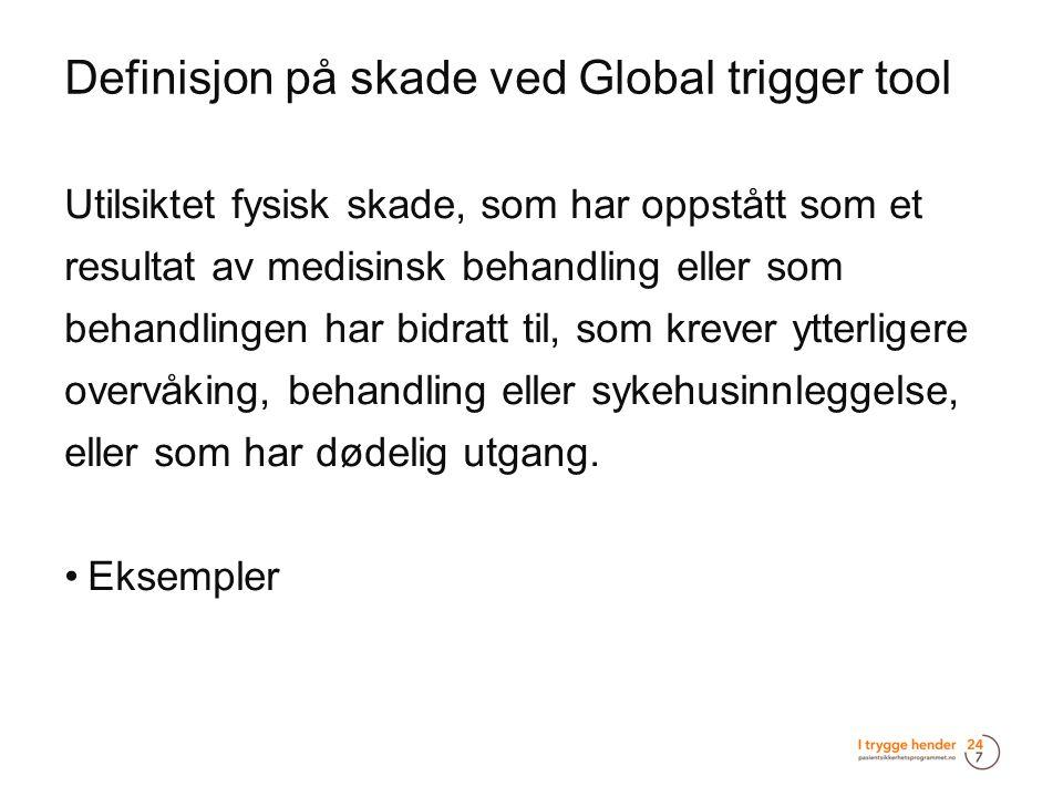 Definisjon på skade ved Global trigger tool  Utilsiktet fysisk skade, som har oppstått som et resultat av medisinsk behandling eller som behandlingen